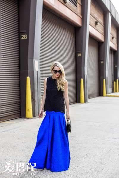 宝石蓝裙子搭配