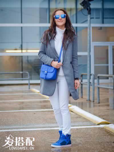 宝石蓝鞋包搭配
