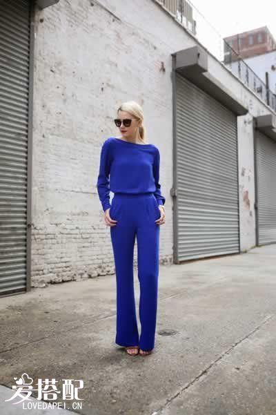 宝石蓝裤子套装搭配